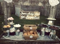 S'mores Up the ante on this traditional campfire treat by designing your own s'mores bar with an array of flavoured marshmallows and as well as a range of different graham crackers, wafers and chocolates. Photo via Catch My Party .
