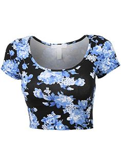 RubyK Womens Fitted Short Sleeve Floral Print Crop Top with Stretch RubyK http://smile.amazon.com/dp/B00VB01MS2/ref=cm_sw_r_pi_dp_rVorvb0Q4AGXB