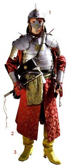 Наместник, XVII век Наместник был вторым должностным лицом в иерархии конных хоругвей войска Речи ПосполитойНаместники же осуществляли командование с помощью одного или нескольких поручиков. Наместник одет в дорогой жупан, опоясанный тканым поясом, его торс защищает гусарский полудоспех, а голову - шишак с подобной забралу назальной стрелкой. В руках наместника - боевой молот - чекан.  1 - Гусарский шишак.  2 - Жупан. 3 - Сапоги на высоких каблуках. Информа