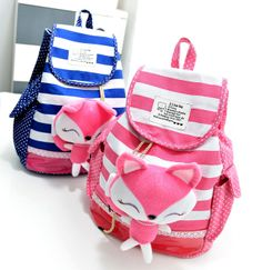 stacy bag New arrival student school bag girls backpack children cartoon backpack canvas stripes printing travel bag  $14.00