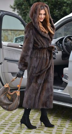 BROWN SAGA MINK LONG TRENCH FUR COAT HOOD BELT CLASS SABLE CHINCHILLA FOX JACKET