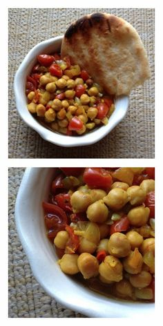 Slow Cooker Chole (Indian-Spiced Chickpea Stew) from Letter Blocks Say What; this is a delicious #MeatlessMonday dish or side dish. [Featured on SlowCookerFromScratch.com] #SlowCookerFromScratch