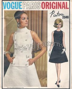 Vogue 2046 Vintage 1960s PATOU Designer Standing Collar Sleeveless Dress and Label Sewing Pattern Sz 14