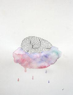 Ann-Kathrin Nikolov: Puffy Sleep.  Aquarellfarbe und Tusche auf Aquarellpapier #Monster #Wolke #Schlaf #Aquarell #annkathrinnikolov #sleep #startyourart  www.startyourart.de