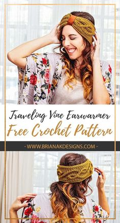 A FREE ear warmer crochet pattern to keep you warm all season long. This pattern uses unique traveling cables for extra style. Unique Crochet, Beautiful Crochet, Easy Crochet, Crochet Hats, Crochet Headbands, Flower Headbands, Baby Headbands, Mode Crochet, Crochet Cable