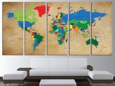 most recent photographs newest photos world map bedroom canvas art summer recipe diy work Map Wall Decor, Canvas Wall Decor, Canvas Art, Wall Art, World Map Canvas, World Map Wall, World Map Bedroom, Push Pin Art, Pintura