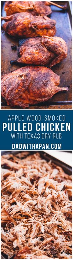 Barbecue Smoked Pulled Chicken Smoked Barbecue Pulled Chicken - Slow cooked on the grill and apple wood-smoked barbecue pulled chicken with a home-made seasoning. Makes a great pulled pork sandwich substitute! Traeger Recipes, Smoked Meat Recipes, Grilling Recipes, Healthy Grilling, Smoked Pork, Barbecue Recipes, Smoked Chicken Rub, Smoker Grill Recipes, Grilling Sides