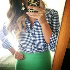 navy gingham shirt, green skirt