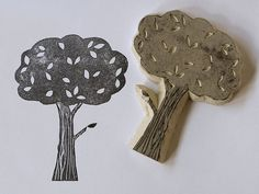 Tree stamp by Laurraine Yuyama for letterhead etc
