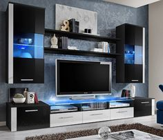 Amazon.com - FRESH Modern Wall Unit / Entertainment Centre / Spacious and Elegant Furniture / Tv Cabinets / Tv Stand for Modern Living Room / High Capacity Living Room Furniture (Black) -