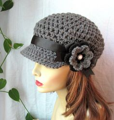 Charcoal Gray Teens Womens Hat, Newsboy, Black, Pearl Button, Flower, Ribbon