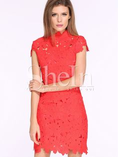 To find out about the Red Cap Sleeve Crochet Lace Zipper Dress at SHEIN, part of our latest Dresses ready to shop online today! Lace Dress With Sleeves, Lace Sheath Dress, Short Sleeve Dresses, Cap Sleeves, Red Lace Cocktail Dress, Cocktail Dresses, Bridesmade Dresses, Crochet Lace Dress, Crochet Art