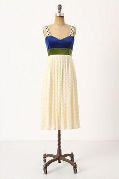Anthropologie Flocked Sillitoe Dress 8, Ivory Skirt Blue Velvet Bodice, Madchen #Madchen #EmpireWaist #Cocktail