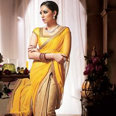 Yellow and Light Brown Faux Chiffon and Poly Cotton Saree with Blouse