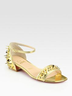 Christian Louboutin - Druide Spiked Mirror Leather Sandals - Saks.com
