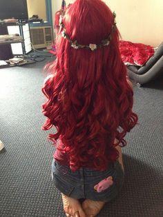 ♛ Gorgeous bright red long layered hair princess curls headband
