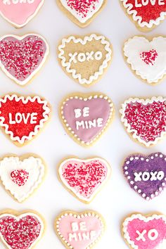 Conversation Heart Sugar Cookies with Royal Icing