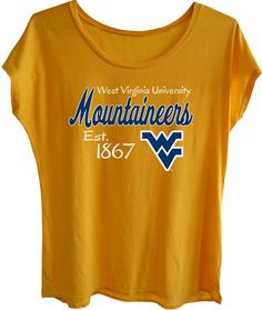Pick up this cute, slightly oversized WVU Mountaineer tee - great for working out or just hanging out.