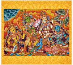 Music Troupe - A Kerala Murals painting.   This stunning painting measures 4ft by 3ft. Handpainted with tremendous patience for over 6 months. Buy at http://www.zaveli.com/home-decor/music_troupe_kerala_murals_painting