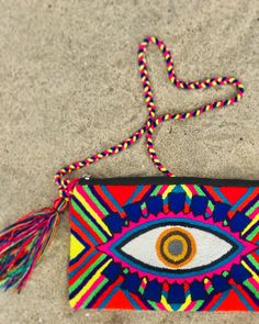 Handmade item by our Wayuu Tribe in La Guajira, Colombia. To make a single piece can take 3 to 4 weeks. Three different ways to rock your clutch bag, crossbody it, also carry it as a shoulder bag, or just as a fanny pack! Blue Orange, Pink Blue, Line Patterns, Single Piece, Primary Colors, Fanny Pack, Clutch Bag, Upholstery, Handmade Items