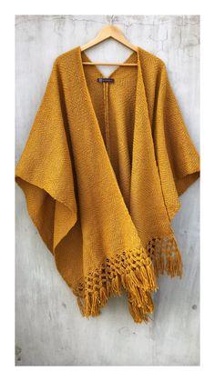 ¡Nuevo Color amarillo mostaza ▫️Unitalla 〰️ New. Mexican Design, Mode Blog, Boho, Sweaters, Fashion, Mustard Yellow, Mexican Fashion, Ponchos, Fabrics