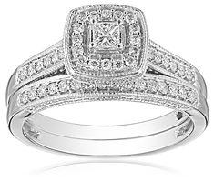 IGI-Certified 14k White Gold Princess-Cut Diamond Bridal Ring Set (0.5 cttw, H-I Color, I1-I2 Clarity) *** See this great image  : Bridal Sets