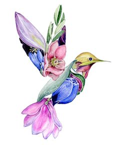 Sarah Voyer is a Hawaii-based artist specializing in watercolor painting and illustration. Hummingbird Flower Tattoos, Hummingbird Tattoo Watercolor, Hummingbird Art, Watercolor Bird, Bird And Flower Tattoo, Watercolor Landscape, Tatoo 3d, Body Art Tattoos, Ankle Tattoos