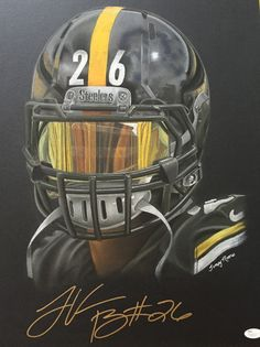 Pittsburgh Steelers Art Print LeVeon Bell Artwork Home Decor by Artist Tempy Moore - Welcome to our website, We hope you are satisfied with the content we offer. Pittsburgh Steelers Helmet, Pittsburgh Steelers Wallpaper, Steelers Pics, Steelers Stuff, Football Wallpaper, Nfl Football Players, Football Art, Football Helmets, Chiefs Football