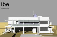 Eileen Gray E1027 House 3D illustration