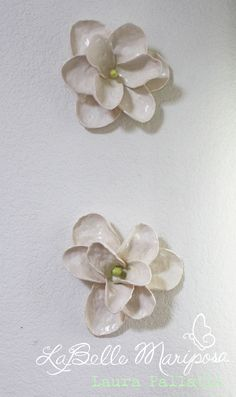Magnolia flowers in bloom! Large Ceramic Flowers. Ceramic Wall Art.