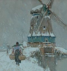 Holland Windmill in Winter....by Henri Cassiers