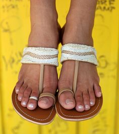 Aspiga | Lalo Natural Leather Beaded Sandals by Aspiga