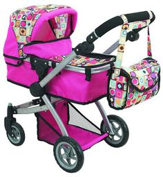 5861dbd6a41b6 Doll Strollers Pro Deluxe Doll Stroller with Swiveling Wheels Adjustable  Handle and Carriage Bag https