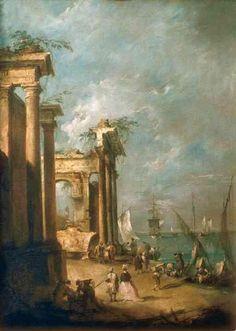 "Roman Ruins Near the Lagoon"" by Francesco Guardi"