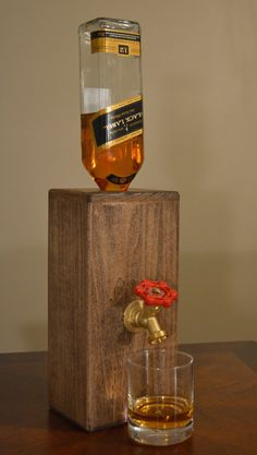 Wood Liquor Dispenser/Decanter by NomadWoodworkingShop on Etsy