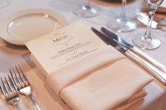 Napkin fold with menu tucked in   Linden Place Wedding by Rachel Kate Photography  Read more - http://www.stylemepretty.com/rhode-island-weddings/bristol/2012/02/15/linden-place-wedding-by-rachel-kate-photography/
