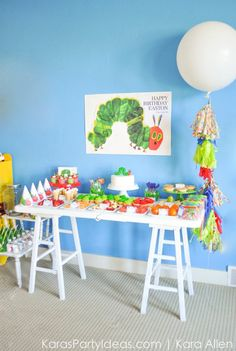 Hungry Little Caterpillar 3rd Birthday Party Dessert Food Table via Kara's Party Ideas | Kara Allen KarasPartyIdeas.com #partyideas #caterpi...
