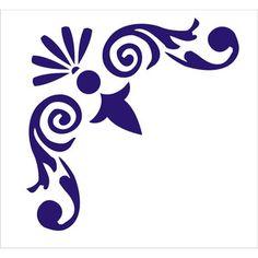 stencils for furniture decoration | Stencil, Corner Flourish 003, Damask Wall Furniture Stencil is 6.5 x 6 ...