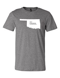 Oklahoma Home Mi Casa 3001 Premium Crewneck T-Shirt Slogan Humorous Tee Shirt Deep Heather Gray Large, Men's, Grey
