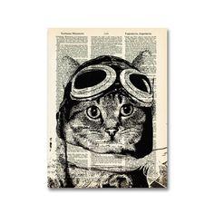Captain Kitty Ace Aviator Print