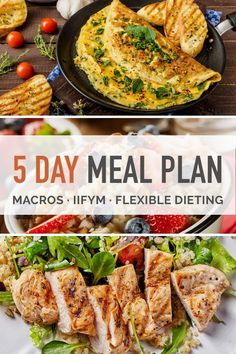 5 days of meals and snacks for the flexible diet (both men and women). IIFYM meal plan shows macro amounts for each meal and daily totals   shopping list.