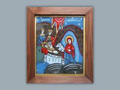Nasterea Domnului_icoana pe sticla_Simona Duma Orthodox Icons, Nativity, Angels, Christian, Bag, Glass, Frame, Home Decor, Picture Frame