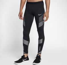 e7e82e11ea Nike Power Tech Running Tights Mens Reflective Green Silver Pants 857849-372