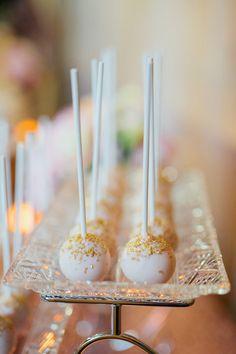 White and gold wedding dessert idea - cake pops with gold sprinkles! {Analog Wedding}