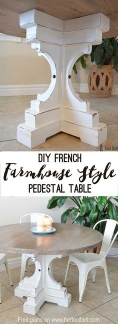"""Free woodworking plans to build a chunky french farmhouse style 48"""" round pedestal table. This table is made from simple lumber (2x8, 2x6, 2x4) from Home Depot. Love the reclaimed wood finish! #diywoodprojects"""