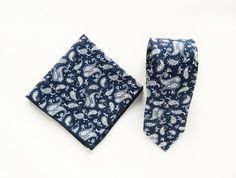 Navy floral paisley tie men's floral pocket square wedding tie gift for men skinny paisley print tie groomsmen wedding ties by TheStyleHubTrends on Etsy