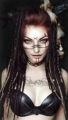 Goth Makeup, Sfx Makeup, Makeup Art, Hair Makeup, Krieger Make-up, Viking Face Paint, Viking Makeup, Warrior Makeup, Viking Warrior Woman