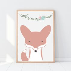 Fuchs Poster für Kinder, Kinderzimmer Bild, A3 ----- Herzlich willkommen im Emugallery! Ein hochwertiger Digital-Druck auf weißem 200g/m2 matte Papier mit Epson Pro Großformatdrucker für...