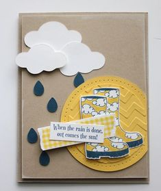 I like the clouds. Use this idea for my umbrella/rain cloud cards