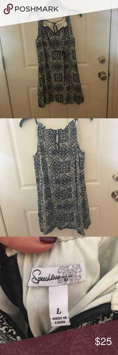 Black and White Patterned Speechless Dress Speechless brand Dress from Macy's. Worn once. Beautiful design, loose and comfy fit. Easy to wear with a sweater and tights for cooler weather. Speechless Dresses Mini